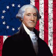 Washington And The American Flag Art Print