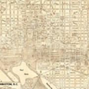 Washington Dc Antique Vintage City Map Art Print