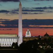 Washington Dc Landmarks At Sunrise I Art Print