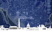 Washington Dc Skyline Map 4 Art Print