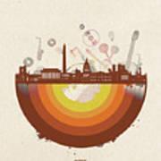 Washington Dc Skyline Retro Art Print