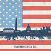 Washington Dc Skyline Usa Flag 3 Art Print