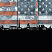 Washington Dc Skyline Usa Flag Art Print