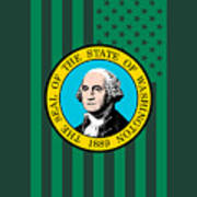 Washington State Flag Graphic Usa Styling Art Print