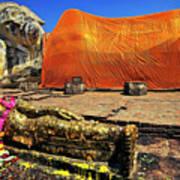 Wat Lokayasutharam Reclining Buddha In Ayutthaya, Thailand Art Print