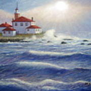 Watch Hill Lighthouseri In Breaking Sun Art Print