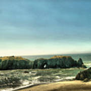Watching The Rocks And Waves Art Print