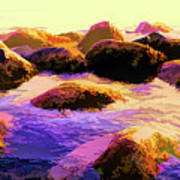 Water Color Like Rocks In Ocean At Sunset Art Print