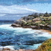 Water Cove With Rocky Cliffs Art Print