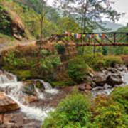 Water Flowing Through Rocks Kukhola Falls Sikkim Art Print
