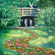 Water Lilies Bridge Art Print
