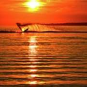 Water Skiing At Sunrise  Art Print