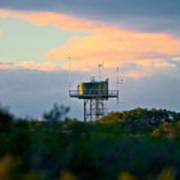 Water Tower In Orange Sunset Art Print