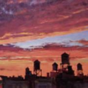 Water Towers At Sunset No. 4 Art Print