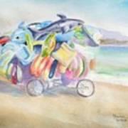 Water Toy Vendor On Teh Beaches Of Santiago Bay, Manzanillo Art Print