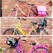 Watercolor Collage Of Three Bicycles In Triptych Art Print