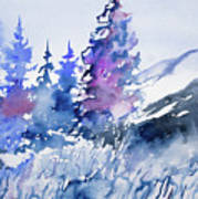 Watercolor - Colorado Winter Wonderland Art Print