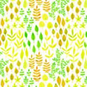 Watercolor Doodle Leaves Pattern White  Art Print