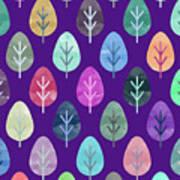 Watercolor Forest Pattern II Art Print
