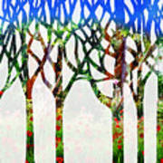 Watercolor Forest Silhouette Summer Art Print