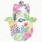Watercolor Garden Hamsa- Art By Linda Woods Art Print