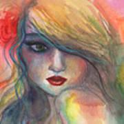 Watercolor Girl Portrait With Flower Art Print