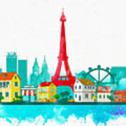 Watercolor Illustration Of Paris Art Print