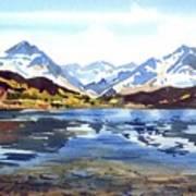 Watercolor Lake Reflection Art Print