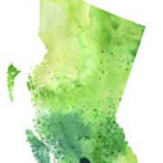 Watercolor Map Of British Columbia, Canada In Green  Art Print