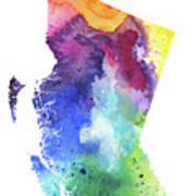 Watercolor Map Of British Columbia, Canada In Rainbow Colors  Art Print