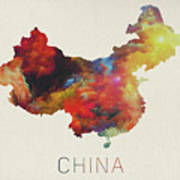 Watercolor Map Of China Art Print