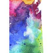Watercolor Map Of Saskatchewan, Canada In Rainbow Colors  Art Print