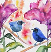 Watercolor - Masked Flowerpiercers With Flowers Art Print