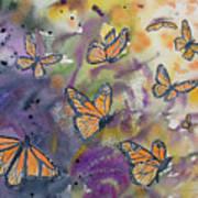 Watercolor- Monarchs In Flight Art Print