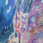 Watercolor - Mountain Goat With Young Art Print