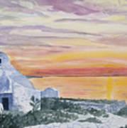 Watercolor - Mykonos Sunset Art Print