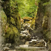 Watercolor Painting Of Beautiful Ethereal Landscape Of Deep Sided Gorge With Rock Walls And Stream F Art Print
