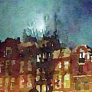 Watercolor Painting Of Spooky Houses At Night Art Print