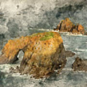 Watercolor Painting Of Stunning Sunrise Landscape Of Land's End In Cornwall England Art Print