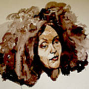 Watercolor Portrait Of A Woman With Bad Hair Day Art Print