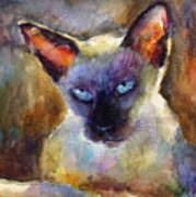 Watercolor Siamese Cat Painting Art Print by Svetlana Novikova