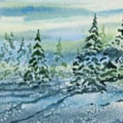 Watercolor - Snowy Winter Evening Art Print