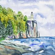 Watercolor - Split Rock Lighthouse Art Print