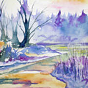 Watercolor - Stream And Forest Art Print
