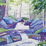 Watercolor - Summer Mountain Forest And Stream Art Print