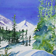 Watercolor - Sunny Winter Day In The Mountains Art Print