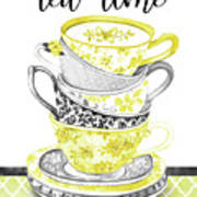 Watercolor Teacups-c Art Print