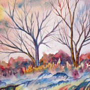 Watercolor - Trees And Woodland Meadow Art Print