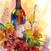 Watercolor Wine Art Print by Peggy Wilson
