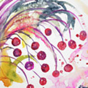 Watercolor - Winter Berry Abstract Art Print